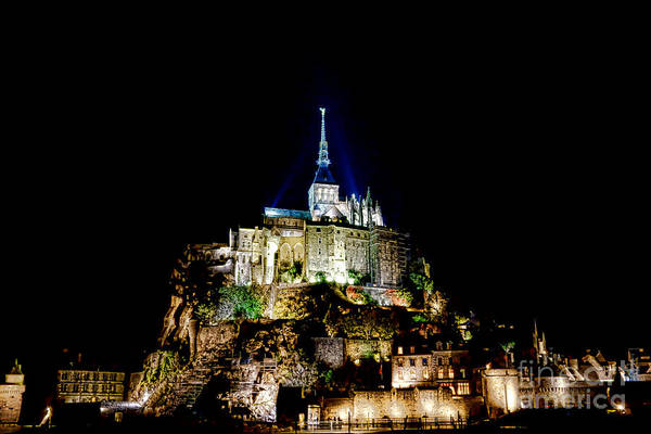 France Poster featuring the photograph Midnight Mont Saint Michel by Olivier Le Queinec