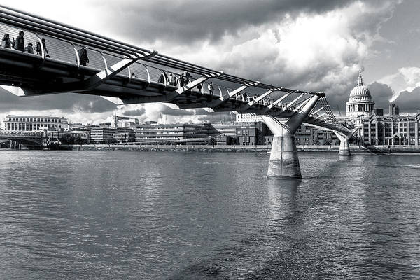 St Paul's Cathedral Poster featuring the photograph Millennium Foot Bridge - London by Mark E Tisdale