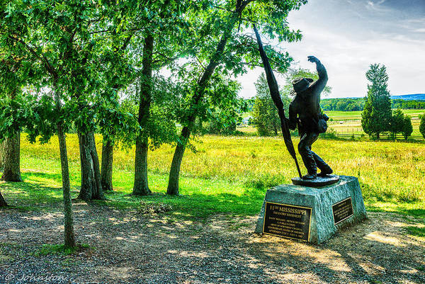 Grand Poster featuring the digital art Mississippi Memorial Gettysburg Battleground by Bob and Nadine Johnston