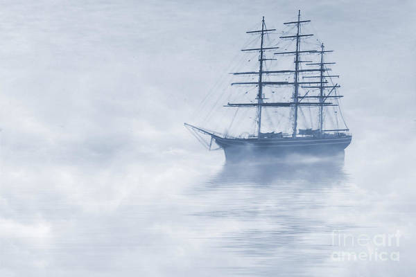 Sailing Ship Poster featuring the painting Morning Mists Cyanotype by John Edwards