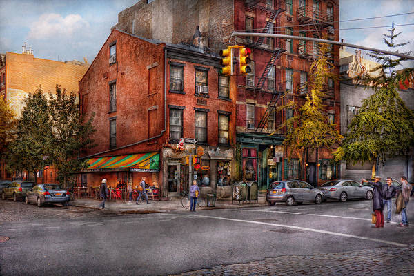 New York Poster featuring the photograph New York - City - Corner Of One Way And This Way by Mike Savad