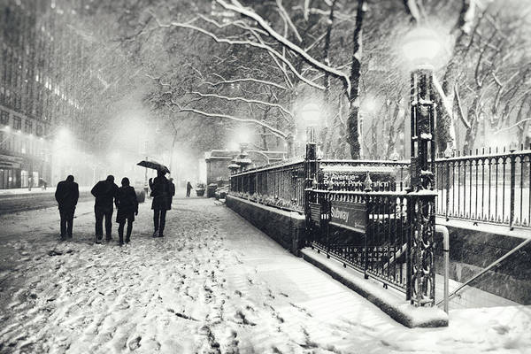 New York City Poster featuring the photograph New York City - Winter - Snow At Night by Vivienne Gucwa