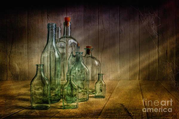 Art Poster featuring the photograph Old Bottles by Veikko Suikkanen
