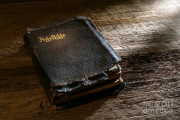 Holy Bible Poster featuring the photograph Old Holy Bible by Olivier Le Queinec