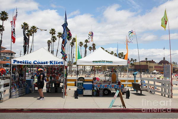 California Poster featuring the photograph Pacific Coast Kites And Paradise Dogs On The Municipal Wharf At The Santa Cruz Beach Boardwalk Calif by Wingsdomain Art and Photography