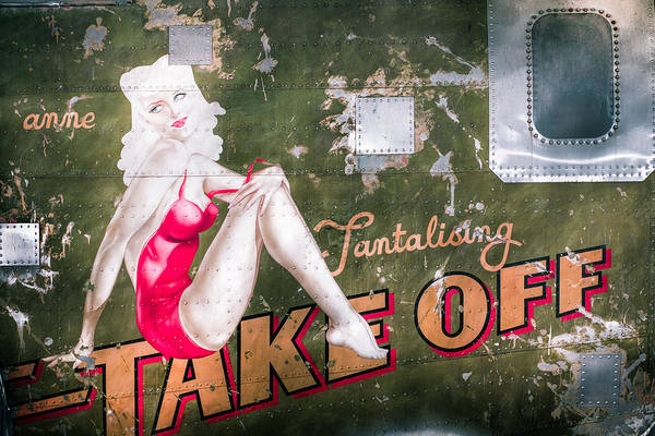 Pinup Poster featuring the photograph Pinup Girl - Aircraft Nose Art - Take Off Anne by Gary Heller