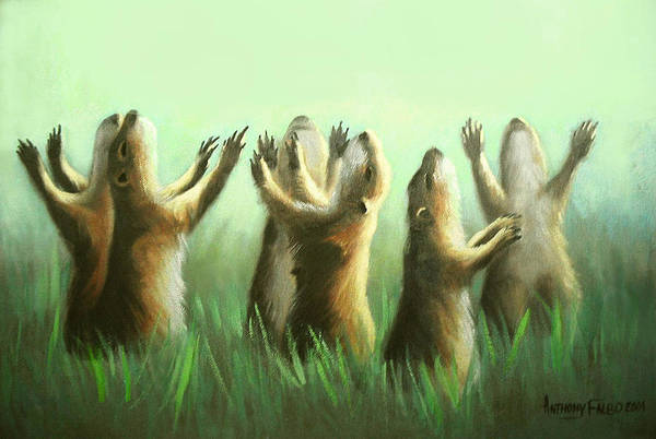 Praising Prairie Dogs Poster featuring the painting Praising Prairie Dogs by Anthony Falbo