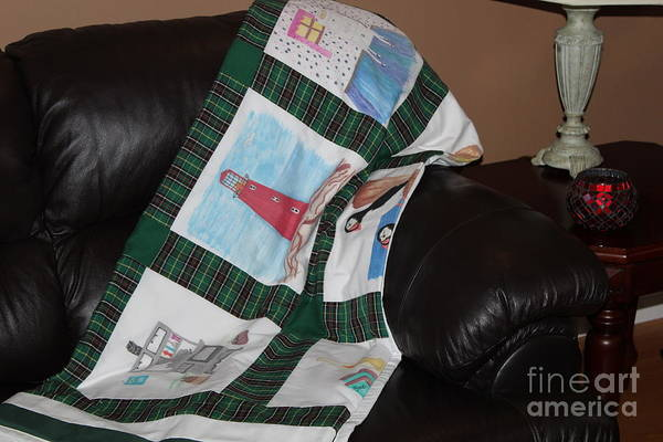 Quilts Poster featuring the tapestry - textile Quilt Newfoundland Tartan Green Posts by Barbara Griffin