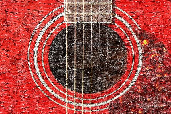 Red Guitar Digital Painting Poster featuring the photograph Red Guitar - Digital Painting - Music by Barbara Griffin