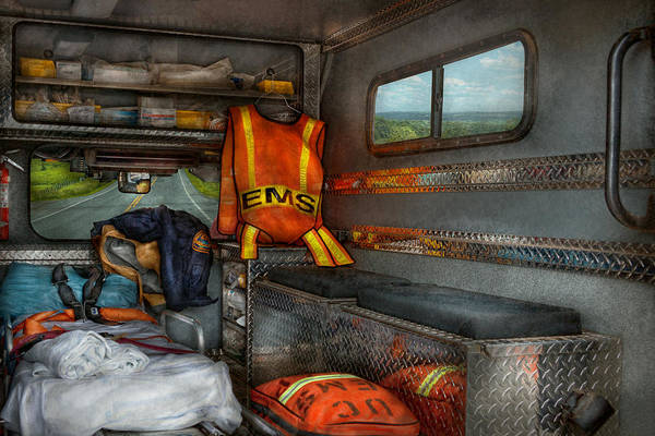 Rescue Poster featuring the photograph Rescue - Emergency Squad by Mike Savad