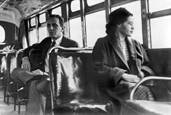1956 Poster featuring the photograph Rosa Parks On Bus by Underwood Archives
