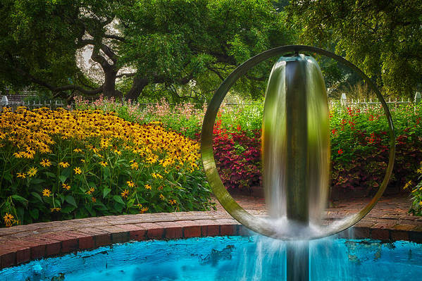 Prescott Park Poster featuring the photograph Round Water Sculpture Prescott Park Garden by Jeff Sinon