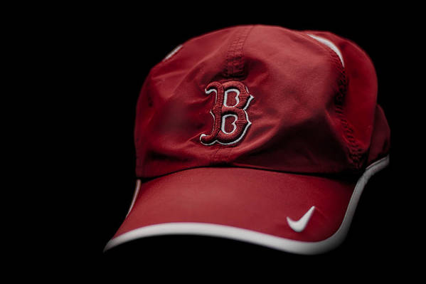 Running Hat Boston Marathon Red Sox Runner Running Red Black White Swoosh Nike Stripe Bill Cap Shadow Highlight B Strong Boston Strong Boston Our City Strength City Boston Strong Poster featuring the photograph Running Hat by Tom Gort