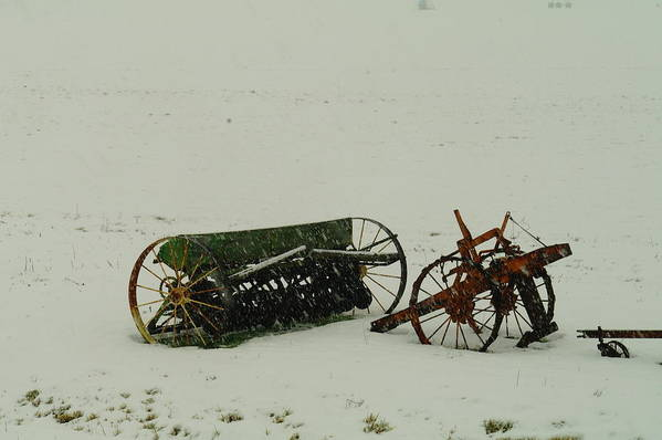 Farming Poster featuring the photograph Rusting In The Snow by Jeff Swan