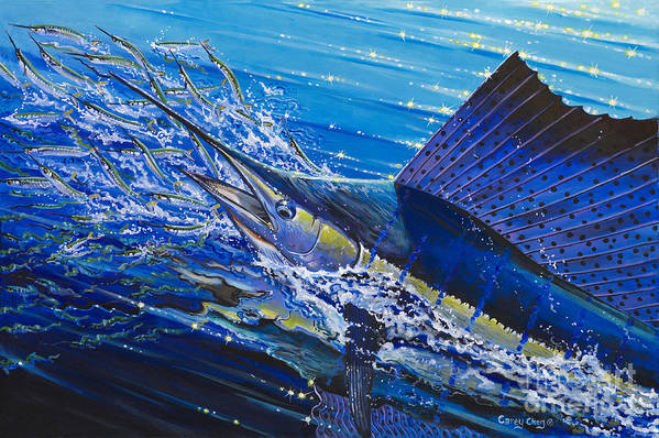 Sailfish Poster featuring the painting Sail On The Reef Off0082 by Carey Chen