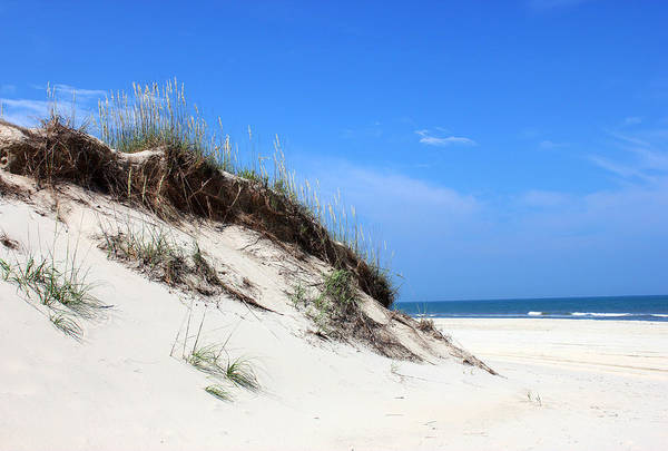 Sand Dunes Of Corolla Outer Banks Obx North Carolina Currituck Duck Ocean Sand View Vista Water Sky Remote Pristine Poster featuring the mixed media Sand Dunes Of Corolla Outer Banks Obx by Design Turnpike
