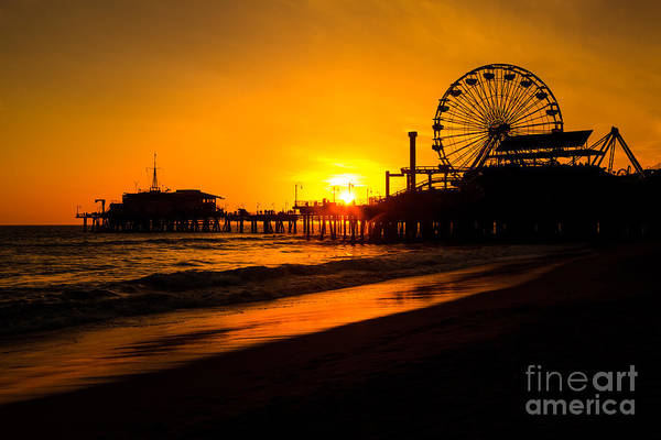 America Poster featuring the photograph Santa Monica Pier California Sunset Photo by Paul Velgos