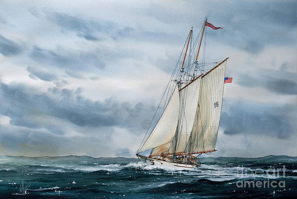 Tall Ship Print Poster featuring the painting Schooner Adventuress by James Williamson