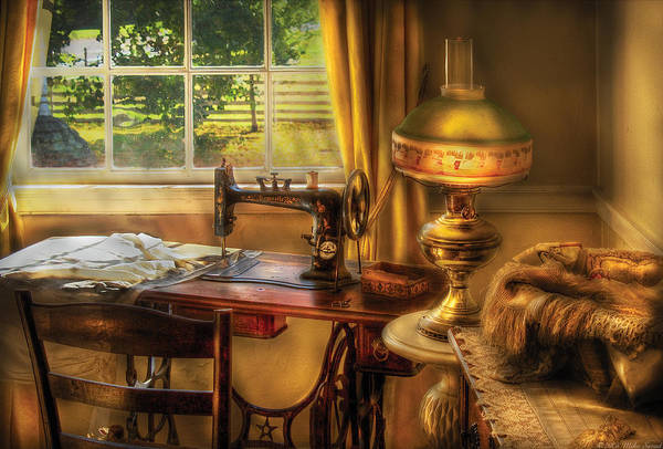 Savad Poster featuring the photograph Sewing Machine - Domestic Sewing Machine by Mike Savad