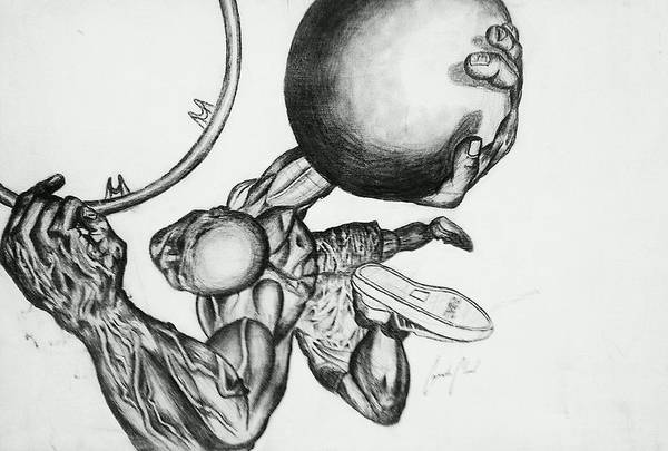 Sports Poster featuring the drawing Small Ball Dunking by Cepada Cloud