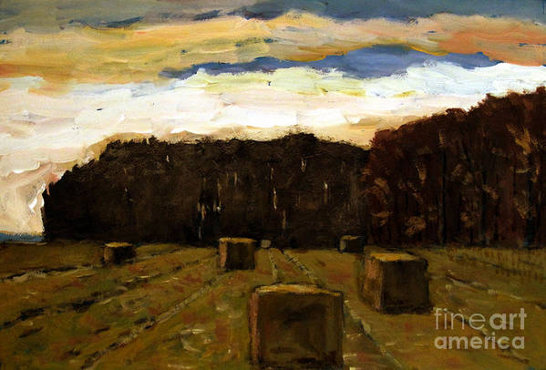 Landscape Poster featuring the painting Sold Row By Row by Charlie Spear