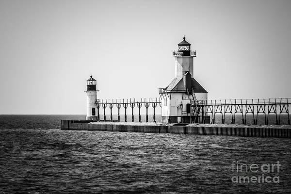 America Poster featuring the photograph St. Joseph Lighthouses Black And White Picture by Paul Velgos