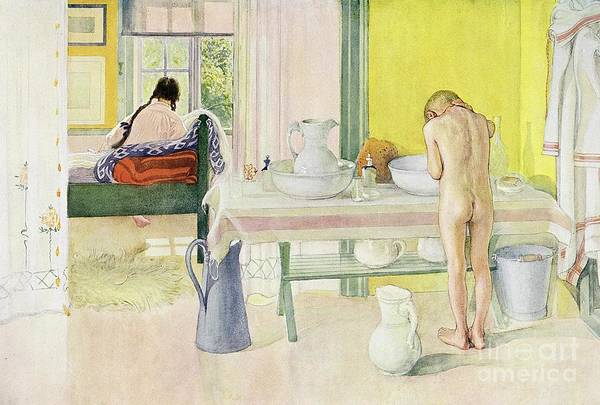 Washing; Nude; Child; Bedroom; Jug And Bowl Poster featuring the painting Summer Morning Pub In Lasst Licht Hinin Let In More Light by Carl Larsson