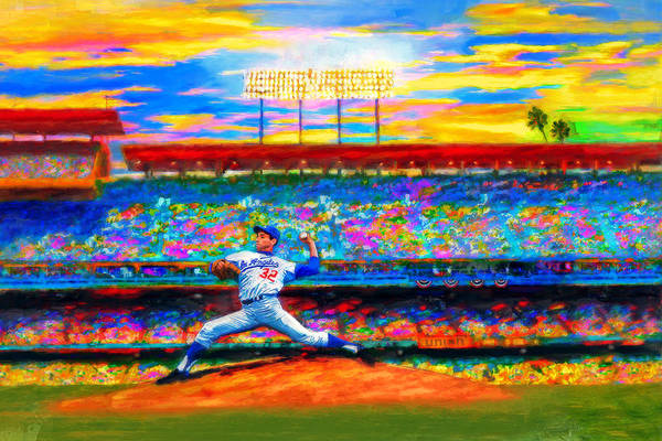 Sandy Koufax Poster featuring the digital art Sunday With Sandy by Alan Greene