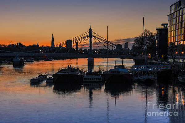 Battersea Bridge Poster featuring the photograph Sunrise On The Thames by Donald Davis