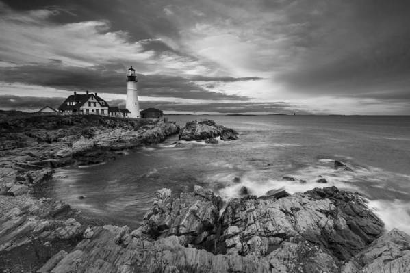 Horizontal Poster featuring the photograph Sunset Lighthouse by Jon Glaser
