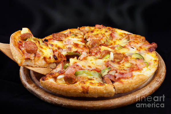 Pizza Poster featuring the photograph Supreme Hot Pizza by Anek Suwannaphoom