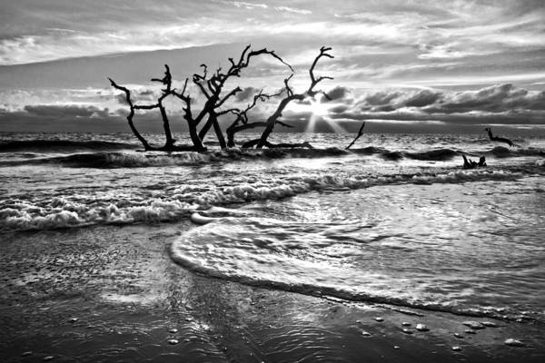 Clouds Poster featuring the photograph Surf At Driftwood Beach by Debra and Dave Vanderlaan