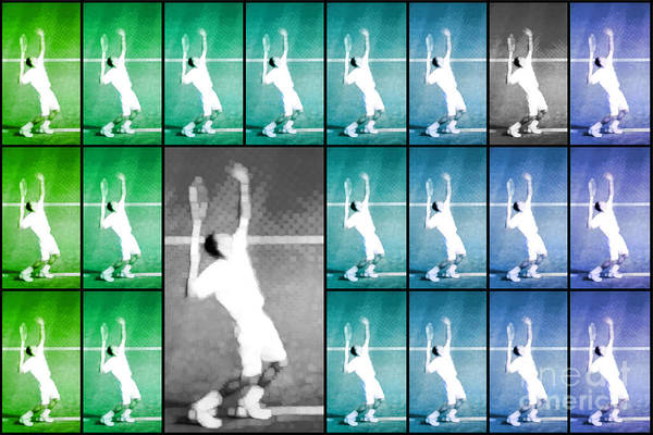Tennis Poster featuring the photograph Tennis Serve Mosaic Abstract by Natalie Kinnear