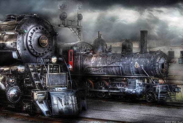 Savad Poster featuring the photograph Train - Engine - 1218 - Waiting For Departure by Mike Savad