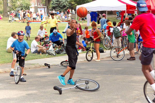 Unicycle Poster featuring the photograph Unicyclist - Basketball - Street Rules by Mike Savad