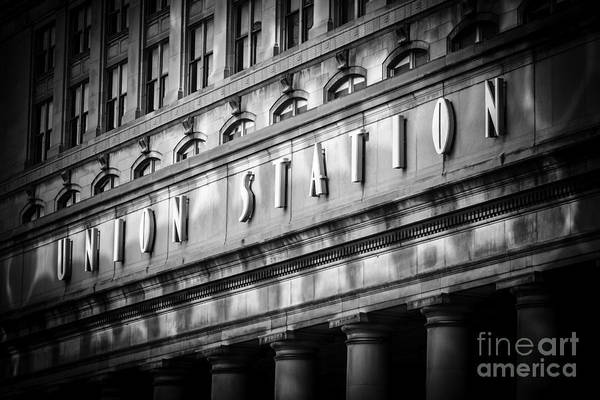 America Poster featuring the photograph Union Station Chicago Sign In Black And White by Paul Velgos