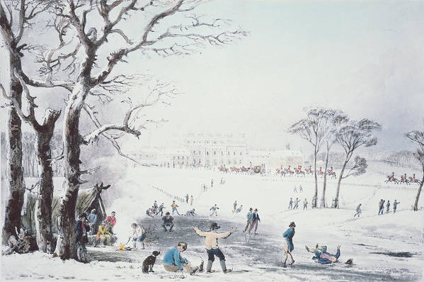 Print Poster featuring the drawing View Of Buckingham House And St James Park In The Winter by John Burnet
