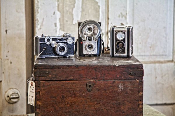 Cameras Poster featuring the photograph Vintage Cameras At Warehouse 54 by Toni Hopper