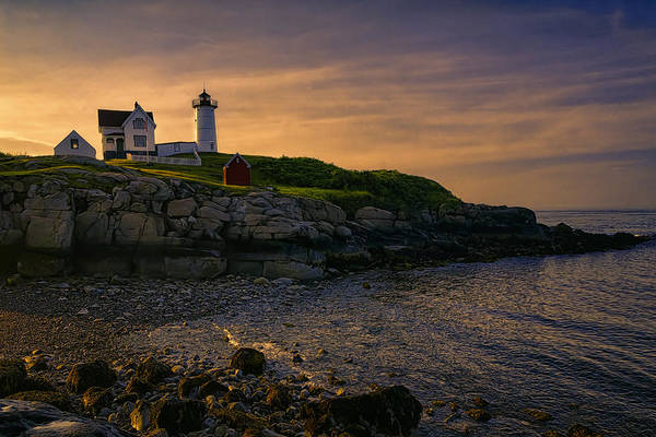 Joan Carroll Poster featuring the photograph Warm Nubble Dawn by Joan Carroll