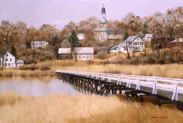 Village Poster featuring the painting Wellfleet Golden Morn by Karol Wyckoff