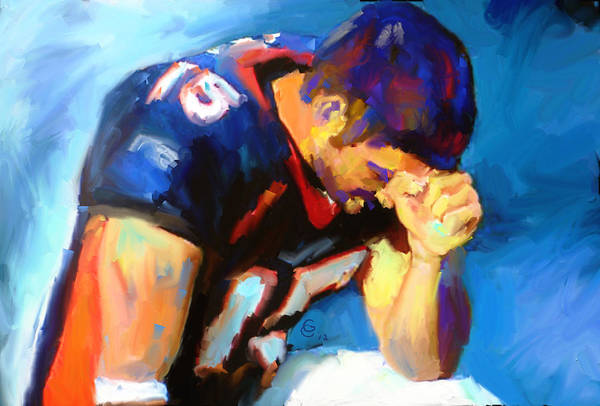 Tim Tebow Poster featuring the mixed media When Tebow Was A Bronco by GCannon