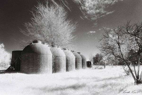 Infrared Poster featuring the photograph Wine Vats Rutherglen by Linda Lees