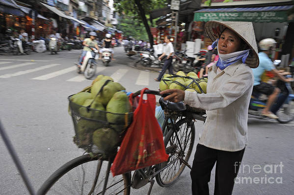 Street Poster featuring the photograph Woman Carrying Fruit On Bike by Sami Sarkis