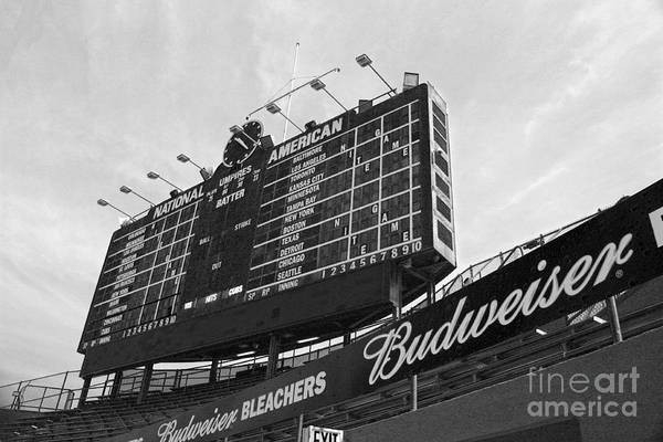 Wrigley Field Poster featuring the photograph Wrigley Scoreboard Sans Color by David Bearden