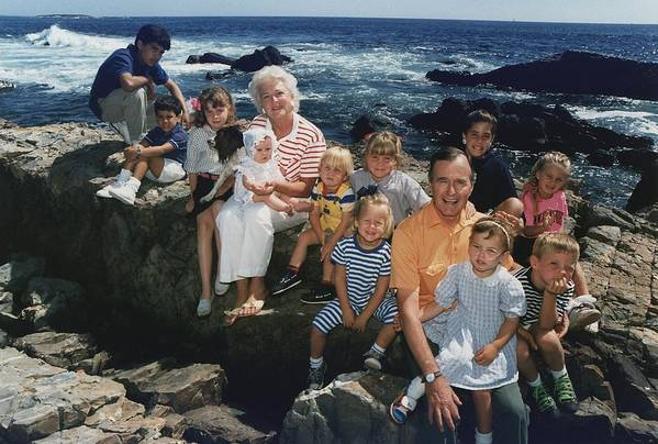 History Poster featuring the photograph President George H. W. Bush And Wife by Everett