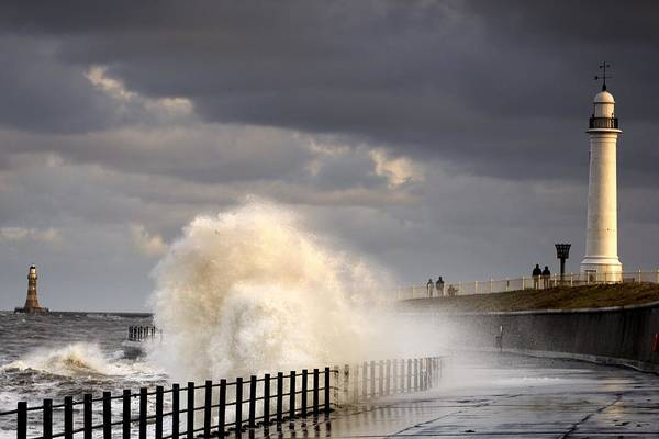 Crashing Poster featuring the photograph Waves Crashing, Sunderland, Tyne And by John Short