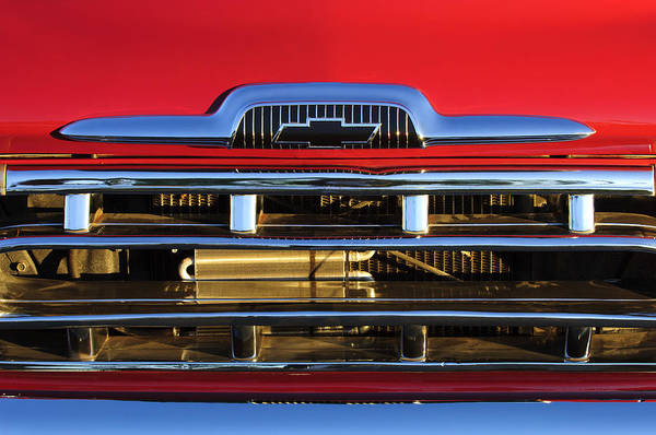 1957 Chevrolet Pickup Truck Poster featuring the photograph 1957 Chevrolet Pickup Truck Grille Emblem by Jill Reger