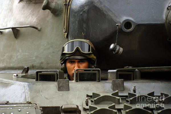 Adults Only Poster featuring the photograph Tank Driver Of A Leopard 1a5 Mbt by Luc De Jaeger