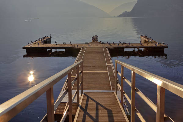 Dock Poster featuring the photograph Lago Di Lugano by Joana Kruse