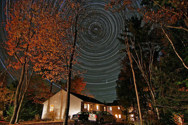Star Trail Poster featuring the photograph All Night Star Trails by Larry Landolfi